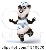 Clipart Of A 3d Happy Sailor Panda Jumping Royalty Free Illustration