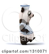 Clipart Of A 3d Happy Sailor Panda Walking To The Right Royalty Free Illustration