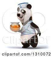 Clipart Of A 3d Happy Sailor Panda Walking To The Left With A Honey Jar Royalty Free Illustration by Julos
