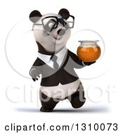 Clipart Of A 3d Bespectacled Business Panda Walking And Holding A Honey Jar Royalty Free Illustration