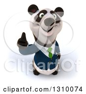 Clipart Of A 3d Business Panda Holding Up A Thumb Royalty Free Illustration