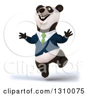 Clipart Of A 3d Business Panda Jumping With Joy Royalty Free Illustration