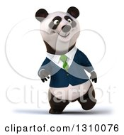 Clipart Of A 3d Walking Business Panda Royalty Free Illustration