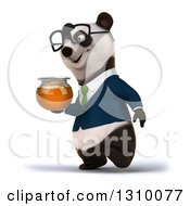Clipart Of A 3d Bespectacled Business Panda Walking To The Left And Holding A Honey Jar Royalty Free Illustration