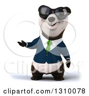Clipart Of A 3d Business Panda Wearing Sunglasses And Presenting Royalty Free Illustration