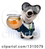 Clipart Of A 3d Business Panda Wearing Sunglasses And Holding Up A Honey Jar Royalty Free Illustration