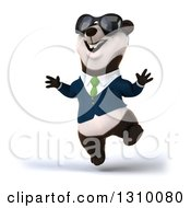 Clipart Of A 3d Business Panda Wearing Sunglasses And Jumping Royalty Free Illustration