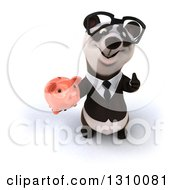 Clipart Of A 3d Bespectacled Business Panda Holding Up A Thumb And Piggy Bank Royalty Free Illustration