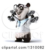 Clipart Of A 3d Bespectacled Doctor Or Veterinarian Panda Working Out Facing Left Doing Shoulder Presses With Dumbbells Royalty Free Illustration