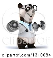 Clipart Of A 3d Bespectacled Doctor Or Veterinarian Panda Working Out Facing Slightly Right Doing Lateral Raises With Dumbbells Royalty Free Illustration