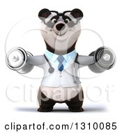 Clipart Of A 3d Bespectacled Doctor Or Veterinarian Panda Working Out Doing Lateral Raises With Dumbbells Royalty Free Illustration