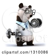 Clipart Of A 3d Bespectacled Doctor Or Veterinarian Panda Working Out Facing Slightly Right Doing Bicep Curls With Dumbbells Royalty Free Illustration