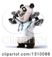 Clipart Of A 3d Doctor Or Veterinarian Panda Working Out Facing Left Doing Shoulder Presses With Dumbbells Royalty Free Illustration by Julos
