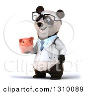 Clipart Of A 3d Bespectacled Doctor Or Veterinarian Panda Facing Slightly Left And Holding A Piggy Bank Royalty Free Illustration