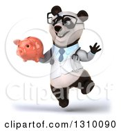 Clipart Of A 3d Bespectacled Doctor Or Veterinarian Panda Jumping And Holding A Piggy Bank Royalty Free Illustration