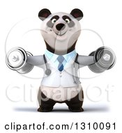 Clipart Of A 3d Doctor Or Veterinarian Panda Working Out Doing Lateral Raises With Dumbbells Royalty Free Illustration by Julos