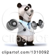 Clipart Of A 3d Doctor Or Veterinarian Panda Working Out Facing Right Doing Lateral Raises With Dumbbells Royalty Free Illustration by Julos