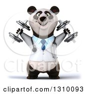 Clipart Of A 3d Doctor Or Veterinarian Panda Working Out Doing Shoulder Presses With Dumbbells Royalty Free Illustration by Julos