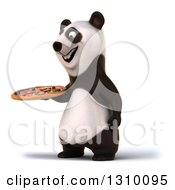 Clipart Of A 3d Happy Panda Facing Left And Holding A Pizza Royalty Free Illustration