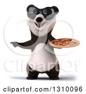 Clipart Of A 3d Happy Panda Wearing Sunglasses Pointing And Holding A Pizza Royalty Free Illustration
