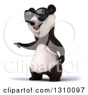 Clipart Of A 3d Happy Panda Wearing Sunglasses And Pointing Royalty Free Illustration