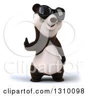 Clipart Of A 3d Happy Panda Wearing Sunglasses And Giving A Thumb Up Royalty Free Illustration