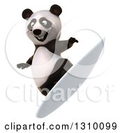 Clipart Of A 3d Happy Panda Surfer Royalty Free Illustration