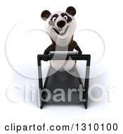 Clipart Of A 3d Happy Panda Looking Up And Running On A Treadmill Royalty Free Illustration