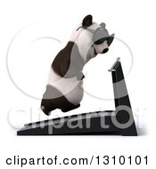Clipart Of A 3d Happy Panda Wearing Sunglasses Facing Right And Running On A Treadmill Royalty Free Illustration