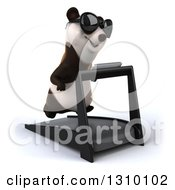 Clipart Of A 3d Happy Panda Wearing Sunglasses Facing Slightly Right And Running On A Treadmill Royalty Free Illustration