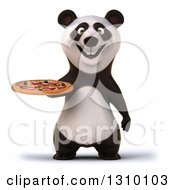 Clipart Of A 3d Happy Panda Holding A Pizza Royalty Free Illustration