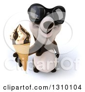 Clipart Of A 3d Happy Panda Wearing Sunglasses And Holding Up A Waffle Ice Cream Cone Royalty Free Illustration