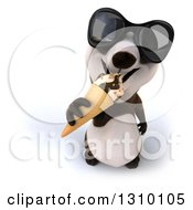 Clipart Of A 3d Happy Panda Wearing Sunglasses Looking Up And Eating A Waffle Ice Cream Cone Royalty Free Illustration