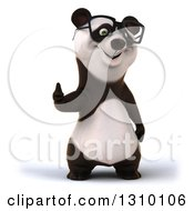 Clipart Of A 3d Bespectacled Happy Panda Giving A Thumb Up Royalty Free Illustration