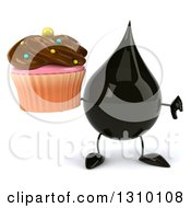 Clipart Of A 3d Oil Drop Character Holding A Thumb Down And A Chocolate Frosted Cupcake Royalty Free Illustration