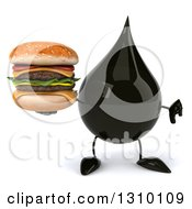 Clipart Of A 3d Oil Drop Character Holding A Thumb Down And A Double Cheeseburger Royalty Free Illustration