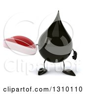 Clipart Of A 3d Oil Drop Character Holding A Beef Steak Royalty Free Illustration