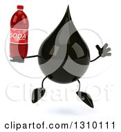 Clipart Of A 3d Oil Drop Character Jumping And Holding A Soda Bottle Royalty Free Illustration