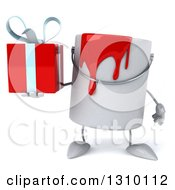 3d Can Of Red Paint Character Holding A Gift
