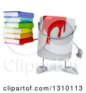3d Can Of Red Paint Character Holding A Stack Of Books