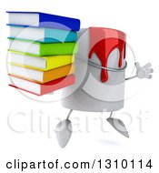Clipart Of A 3d Can Of Red Paint Character Facing Slightly Right Jumping And Holding A Stack Of Books Royalty Free Illustration