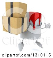 Clipart Of A 3d Can Of Red Paint Character Facing Slightly Right Jumping And Holding Boxes Royalty Free Illustration