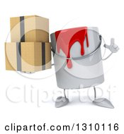 3d Can Of Red Paint Character Holding Up A Finger And Boxes