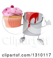 3d Can Of Red Paint Character Jumping And Holding A Pink Frosted Cupcake