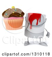 Clipart Of A 3d Can Of Red Paint Character Holding A Chocolate Frosted Cupcake Royalty Free Illustration