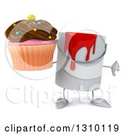 3d Can Of Red Paint Character Holding A Thumb Down And A Chocolate Frosted Cupcake