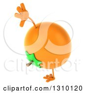 Clipart Of A 3d Navel Orange Character Cartwheeling Royalty Free Illustration by Julos