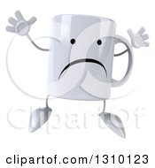 Clipart Of A 3d Unhappy Coffee Mug Character Jumping Royalty Free Illustration