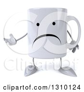 Clipart Of A 3d Unhappy Coffee Mug Character Presenting Royalty Free Illustration