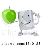 Clipart Of A 3d Happy Coffee Mug Character Holding Up A Green Apple And A Finger Royalty Free Illustration